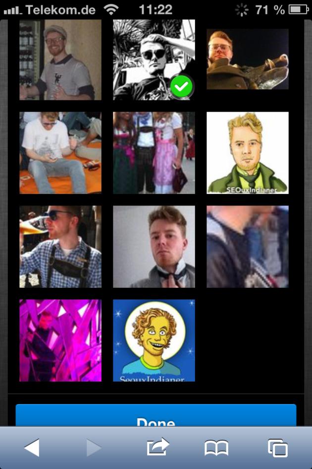 Profilbildwahl in Lulu Dude