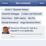 Vorgefertigte Anfrage an Facebookfreundinnen zur Abgabe eines Lulu Reviews