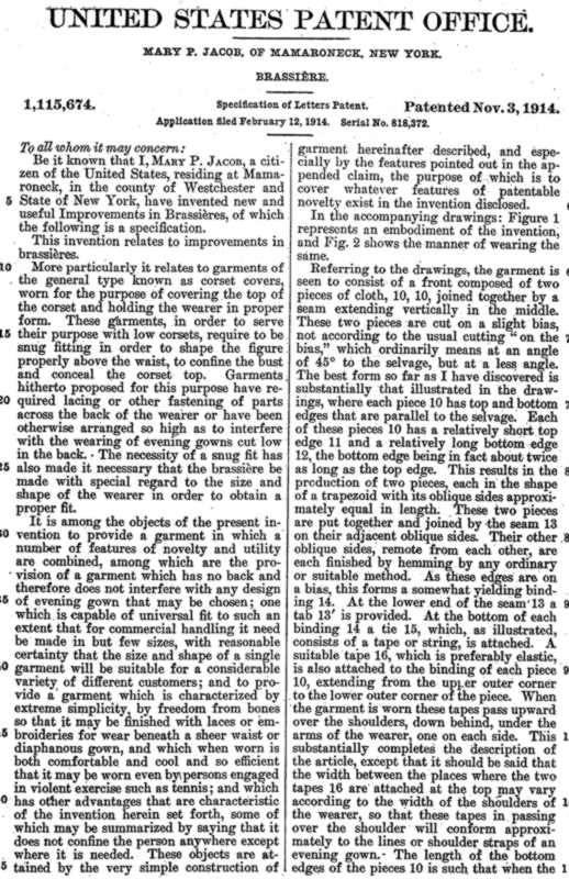 US Patent 1115674 für den ersten Büstenhalter